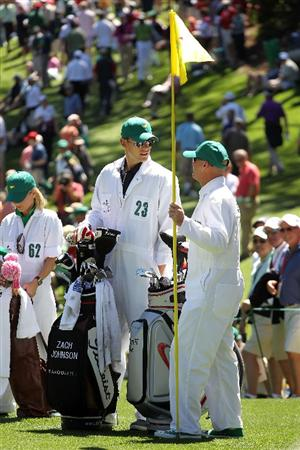 AUGUSTA, GA - APRIL 06:  Andy Roddick (C) caddies for Zach Johnson during the Par 3 Contest prior to the 2011 Masters Tournament at Augusta National Golf Club on April 6, 2011 in Augusta, Georgia.  (Photo by Jamie Squire/Getty Images)