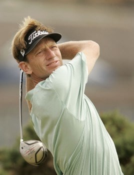 Brad Faxon plays his tee shot on the 2nd hole during the final round of the 2005 British Open Golf Championship at the Royal and Ancient Golf Club in St. Andrews, Scotland on July 17, 2005Photo by Pete Fontaine/WireImage.com
