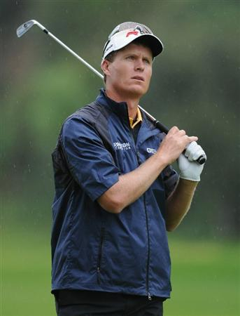 PACIFIC PALISADES, CA - FEBRUARY 18:  John Senden of Australia plays his approach shot on the 13th hole during the second round of the Northern Trust Open at Riviera Country Club on February 18, 2011 in Pacific Palisades, California.  (Photo by Stuart Franklin/Getty Images)