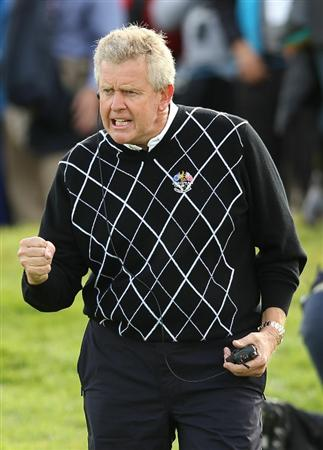 NEWPORT, WALES - OCTOBER 02:  Europe Team Captain Colin Montgomerie encourages his players during the rescheduled Afternoon Foursome Matches during the 2010 Ryder Cup at the Celtic Manor Resort on October 2, 2010 in Newport, Wales.  (Photo by Ross Kinnaird/Getty Images)