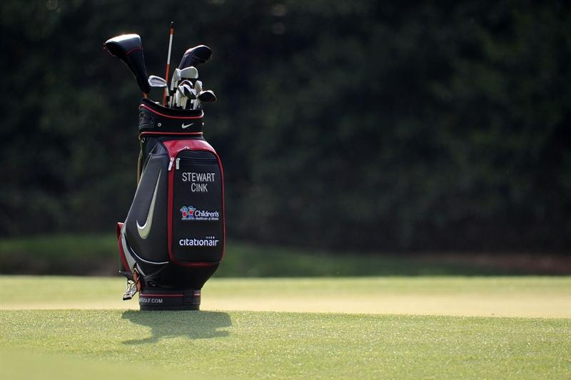 AUGUSTA, GA - APRIL 07:  The bag of Stewart Cink (not pictured) is seen during a practice round prior to the 2010 Masters Tournament at Augusta National Golf Club on April 7, 2010 in Augusta, Georgia.  (Photo by Harry How/Getty Images)