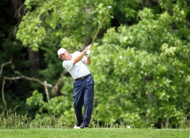 LOUISVILLE, KY - MAY 28:  Nick Price of Zimbabwe hits his tee shot on the par 4 4th hole during the third round of the Senior PGA Championship presented by KitchenAid at Valhalla Golf Club on May 28, 2011 in Louisville, Kentucky.  (Photo by Andy Lyons/Getty Images)