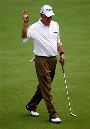 CONOVER, NC - SEPTEMBER 18:  Jay Haas waves to the gallery on the 18th green after a ten-under par 62 during the first round of the Greater Hickory Classic at the Rock Barn Golf & Spa on September 18, 2009 in Conover, North Carolina.  (Photo by Scott Halleran/Getty Images)