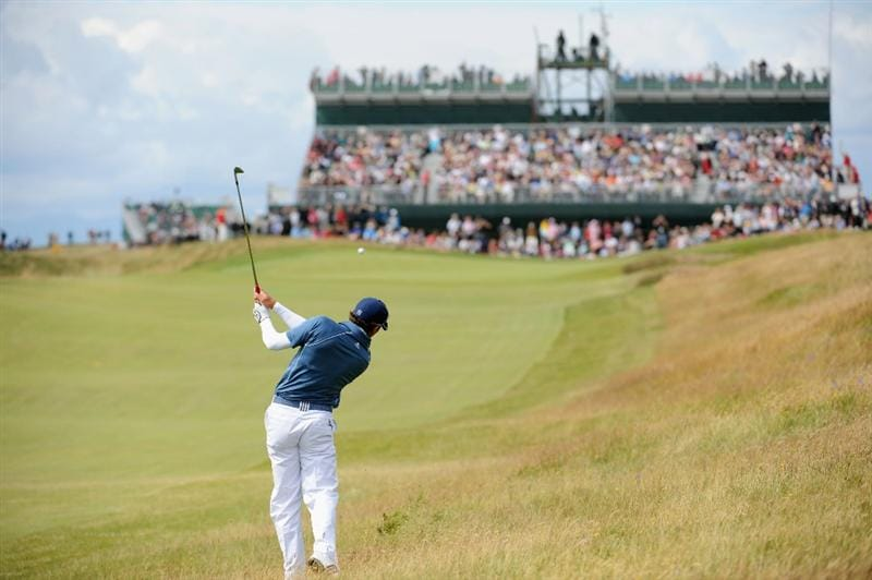 TURNBERRY, SCOTLAND - JULY 18:  Sergio Garcia of Spain hits his approach shot on the 7th hole during round three of the 138th Open Championship on the Ailsa Course, Turnberry Golf Club on July 18, 2009 in Turnberry, Scotland.  (Photo by Harry How/Getty Images)