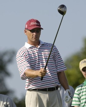 Jason Schultz lines up his drive, during final round action of the Cox Classic presented by Chevrolet at the Champions Club in Omaha, Nebraska on Sunday, August 7, 2005.Photo by Peter Aiken/WireImage.com