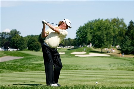BLOOMFIELD HILLS, MI - AUGUST 06:  Miguel Angel Jimenez of Spain hits a shot during a practice round prior to the 90th PGA Championship at Oakland Hills Country Club on August 6, 2008 in Bloomfield Township, Michigan.  (Photo by Hunter Martin/Getty Images)