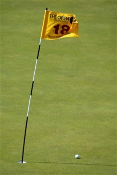 SOUTHPORT, UNITED KINGDOM - JULY 20:  A ball rests by a windy 18th green flag during the final round of the 137th Open Championship on July 20, 2008 at Royal Birkdale Golf Club, Southport, England.  (Photo by Richard Heathcote/Getty Images)