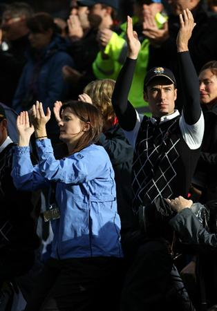 NEWPORT, WALES - OCTOBER 03:  Ross Fisher of Europe cheers for his team mates on the 17th green during the  Fourball & Foursome Matches during the 2010 Ryder Cup at the Celtic Manor Resort on October 3, 2010 in Newport, Wales. (Photo by Jamie Squire/Getty Images)