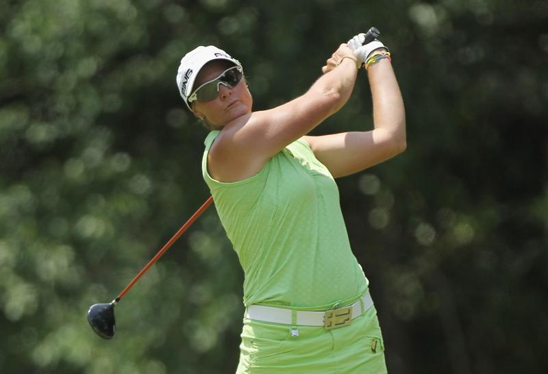 MOBILE, AL - MAY 01:  Maria Hjorth of Sweden hits her tee shot on the seventh hole during the final round of the Avnet LPGA Classic at the Crossings Course at the Robert Trent Jones Trail at Magnolia Grove on May 1, 2011 in Mobile, Alabama.  (Photo by Scott Halleran/Getty Images)