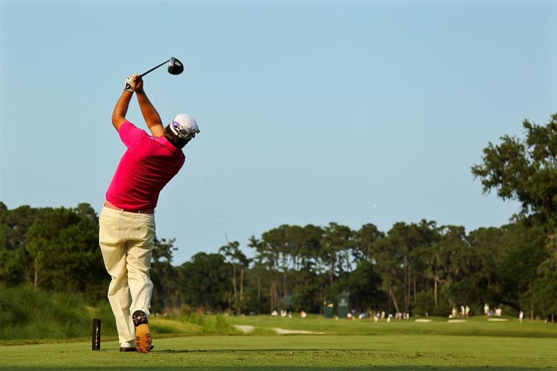 PONTE VEDRA BEACH, FL - MAY 12:  Graeme McDowell of Northern Ireland hits his tee shot on the seventh hole during the first round of THE PLAYERS Championship held at THE PLAYERS Stadium course at TPC Sawgrass on May 12, 2011 in Ponte Vedra Beach, Florida.  (Photo by Mike Ehrmann/Getty Images)