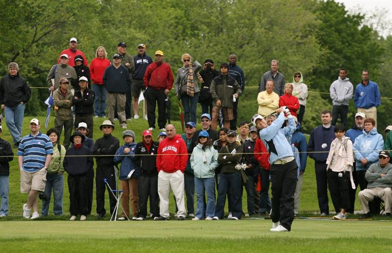 CLIFTON, NJ - MAY 17: Ji Young Oh of South Korea hits her tee shot on the 5th hole during the final round of the Sybase Classic presented by ShopRite at Upper Montclair Country Club on May 17, 2009 in Clifton, New Jersey. (Photo by Hunter Martin/Getty Images)