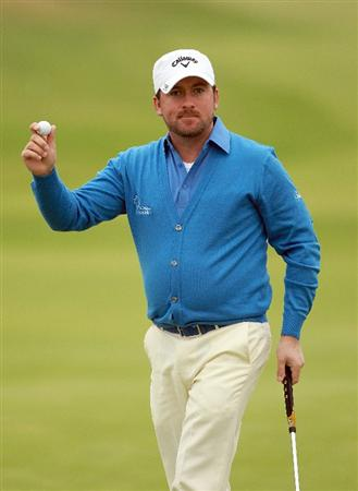 CARNOUSTIE, SCOTLAND - OCTOBER 09:  Graeme McDowell of Northern Ireland on the 18th green during the third round of The Alfred Dunhill Links Championship at the Carnoustie Golf Links on October 9, 2010 in Carnoustie, Scotland.  (Photo by Andrew Redington/Getty Images)