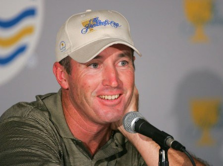 Peter Lonard of the International team speaks at a press conference at The Presidents Cup at Robert Trent Jones Golf Club in Prince William County, Virginia on September 20, 2005.Photo by Chris Condon/PGA TOUR/WireImage.com