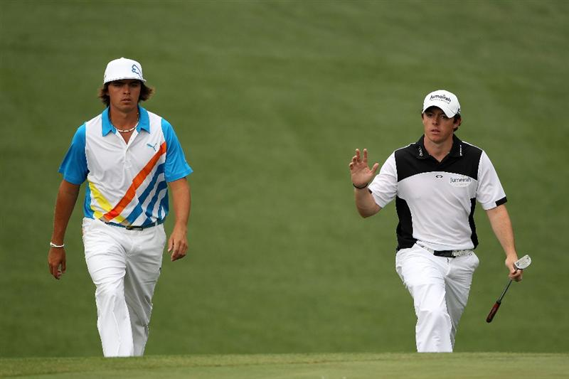 AUGUSTA, GA - APRIL 08:  (L-R) Rickie Fowler and Rory McIlroy of Northern Ireland walk up the tenth hole together during the second round of the 2011 Masters Tournament at Augusta National Golf Club on April 8, 2011 in Augusta, Georgia.  (Photo by Andrew Redington/Getty Images)
