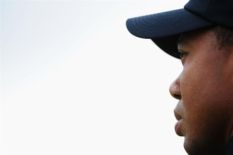 TURNBERRY, SCOTLAND - JULY 17:  Tiger Woods of USA looks on during round two of the 138th Open Championship on the Ailsa Course, Turnberry Golf Club on July 17, 2009 in Turnberry, Scotland.  (Photo by Stuart Franklin/Getty Images)