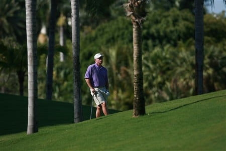 AVENTURA, FL - APRIL 24:  Former Major League baseball player Mike Schmidt waits to hit out of another fairway during the first round of the Stanford International Pro-Am at Fairmont Turnberry Isle Resort & Club April 24, 2008 in Aventura, Florida.  (Photo by Doug Benc/Getty Images)