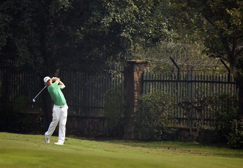 NEW DELHI, INDIA - FEBRUARY 13:  Andrew Dodt of Australia in action during Round Three of the Avantha Masters held at The DLF Golf and Country Club on February 13, 2010 in New Delhi, India.  (Photo by Ian Walton/Getty Images)