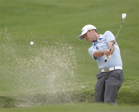 DULUTH, GA - MAY 15:  Chez Reavie hits from the sand on the eighth hole during the first round of the AT&T Classic at TPC Sugarloaf on May 15, 2008 in Duluth, Georgia.  (Photo by Matt Sullivan/Getty Images)