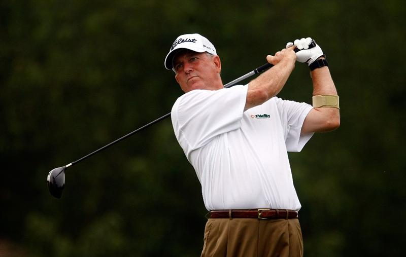 CONOVER, NC - SEPTEMBER 18:  Jay Haas watches his tee shot on the second hole during the first round of the Greater Hickory Classic at the Rock Barn Golf & Spa on September 18, 2009 in Conover, North Carolina.  (Photo by Scott Halleran/Getty Images)