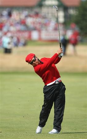 LYTHAM ST ANNES, ENGLAND - AUGUST 02:  Christina Kim of USA hits her second shot on the 2nd hole during the final round of the 2009 Ricoh Women's British Open Championship held at Royal Lytham St Annes Golf Club, on August 2, 2009 in Lytham St Annes, England.  (Photo by David Cannon/Getty Images)