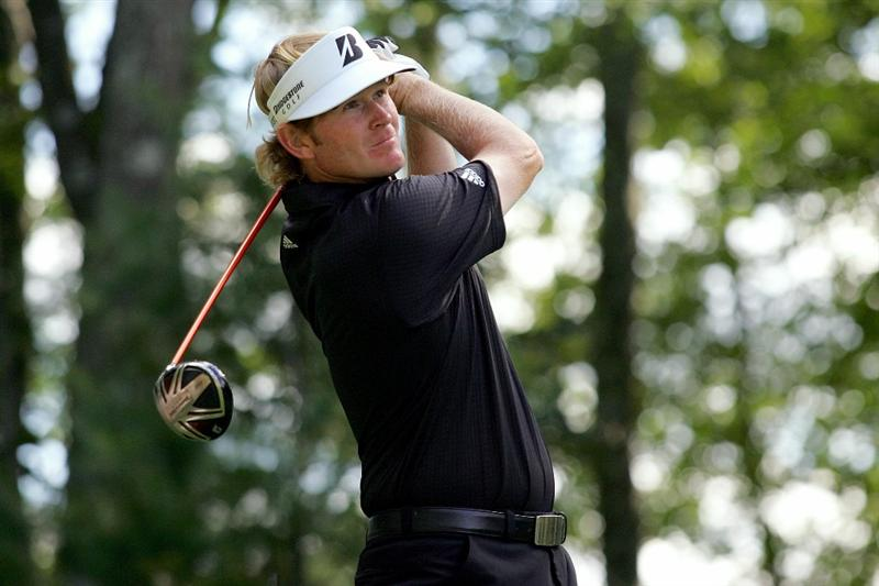 NORTON, MA - SEPTEMBER 05:  Brandt Snedeker tees off on the ninth tee during the third round of the Deutsche Bank Championship at TPC Boston on September 5, 2010 in Norton, Massachusetts.  (Photo by Michael Cohen/Getty Images)