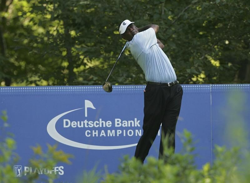 NORTON, MA - SEPTEMBER 04:  Vijay Singh of Fiji Islands hits a drive during the first round of the Deutsche Bank Championship at TPC Boston held on September 4, 2009 in Norton, Massachusetts.  (Photo by Michael Cohen/Getty Images)
