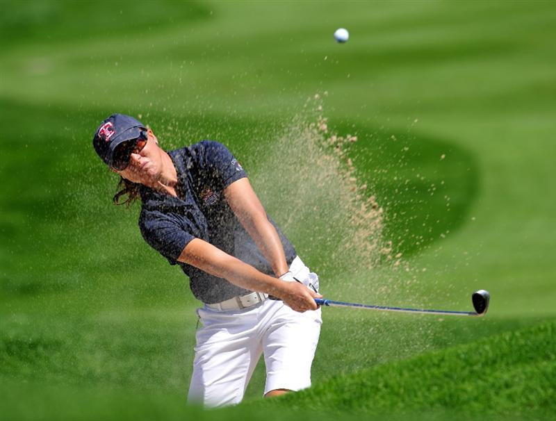 EVIAN-LES-BAINS, FRANCE - JULY 25: Sofie Gustafson of Sweden plays her bunker shot on the nineth hole during the third round of the Evian Masters at the Evian Masters Golf Club on July 25, 2009 in Evian-les-Bains, France.  (Photo by Stuart Franklin/Getty Images)