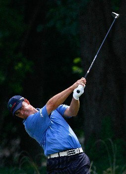 GREENSBORO, NC - AUGUST 16:  Scott McCarron tees off the eighth hole during the third round of the 2008 Wyndham Championship at Sedgefield Country Club on August 16, 2008 in Greensboro, North Carolina.  (Photo by Kevin C. Cox/Getty Images)