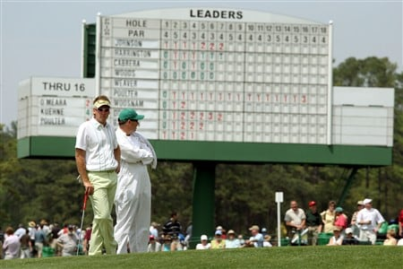 AUGUSTA, GA - APRIL 10:  Ian Poulter of England waits on the 17th green with his caddie Terry Mundy during the first round of the 2008 Masters Tournament at Augusta National Golf Club on April 10, 2008 in Augusta, Georgia.  (Photo by David Cannon/Getty Images)