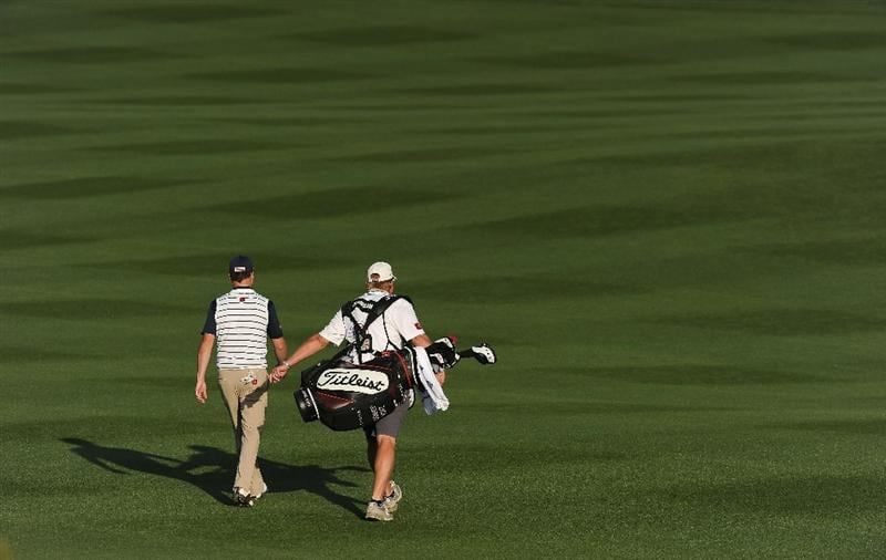 MARANA, AZ - FEBRUARY 23:  Zach Johnson and caddie walk on the 15th hole during the first round of the World Golf Championships-Accenture Match Play Championship held at The Ritz-Carlton Golf Club, Dove Mountain on February 23, 2011 in Marana, Arizona.  (Photo by Stuart Franklin/Getty Images)