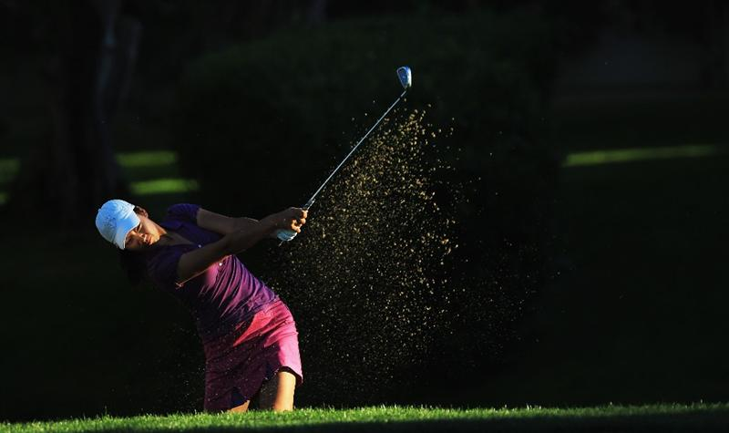 RANCHO MIRAGE, CA - MARCH 31:  Chella Choi of South Korea plays her second shot at the par 5, 2nd hole during the first round of the 2011 Kraft Nabisco Championship on the Dinah Shore Championship Course at the Mission Hills Country Club on March 31, 2011 in Rancho Mirage, California.  (Photo by David Cannon/Getty Images)