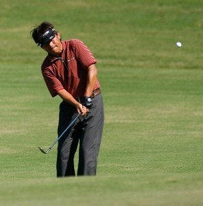 Joe Osaki chips out of the rough onto the green during the second round of the Administaff Small Business Classic at Augusta Pines Golf Course on October 13, 2007 in Spring, Texas. Champions Tour - 2007 Administaff Small Business Classic - Second RoundPhoto by Bob Levey/WireImage.com