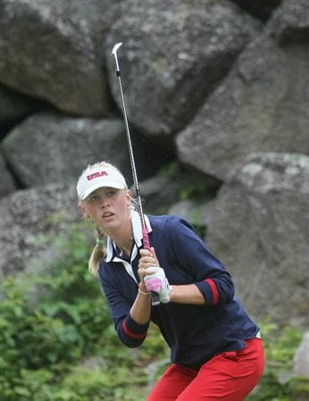 MANCHESTER, MA - JUNE 12:  Jessica Korda of the United States hits the ball in Four Ball competition during the second day of the 2010 Curtis Cup Match at the Essex Country Club on June 12, 2010 in Manchester, Massachusetts. (Photo by Jim Rogash/Getty Images)