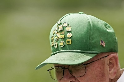 A fans hat has Masters pins during practice for the 2007  Masters at the Augusta National Golf Club in Augusta, Georgia, on April 2, 2007. The 2007 Masters - Practice - April 2, 2007Photo by Sam Greenwood/WireImage.com