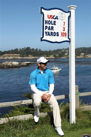 PEBBLE BEACH, CA - JUNE 16:  Paul Casey of England looks on from the seventh hole tee during a practice round prior to the start of the 110th U.S. Open at Pebble Beach Golf Links on June 16, 2010 in Pebble Beach, California.  (Photo by Ross Kinnaird/Getty Images)
