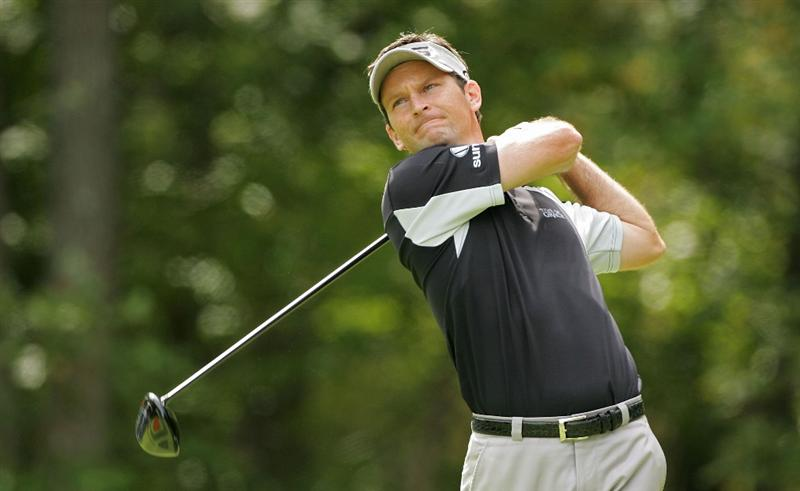 NORTON, MA - SEPTEMBER 07:  Mark Wilson hits his drive on the second hole during the final round of the Deutsche Bank Championship at TPC Boston held on September 7, 2009 in Norton, Massachusetts.  (Photo by Michael Cohen/Getty Images)