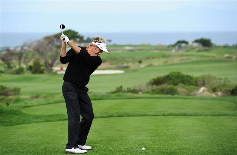 PEBBLE BEACH, CA - FEBRUARY 11: Stuart Appleby of Australia plays a shot on the eight hole during round one of the AT&T Pebble Beach National Pro-Am at Monterey Peninsula Country Club Shore Course on February 11, 2010 in Pebble Beach, California.  (Photo by Stuart Franklin/Getty Images)