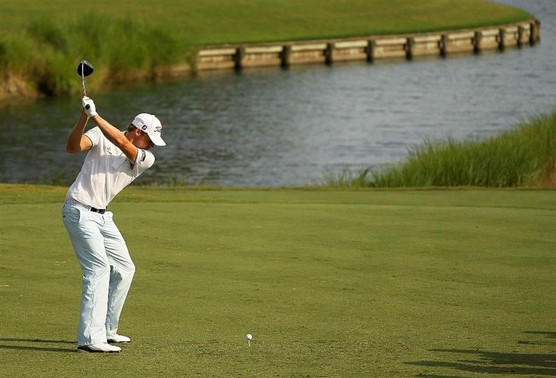 PONTE VEDRA BEACH, FL - MAY 13:  Nick Watney hits his tee shot on the 16th hole during the second round of THE PLAYERS Championship held at THE PLAYERS Stadium course at TPC Sawgrass on May 13, 2011 in Ponte Vedra Beach, Florida.  (Photo by Scott Halleran/Getty Images)