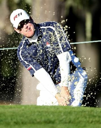 PEBBLE BEACH, CA - FEBRUARY 11:  D.A. Points hits from the bunker on the 10th hole at the AT&T Pebble Beach National Pro-Am- Round Two at the Spyglass golf club on February 11, 2011 in Pebble Beach, California. (Photo by Jed Jacobsohn/Getty Images)