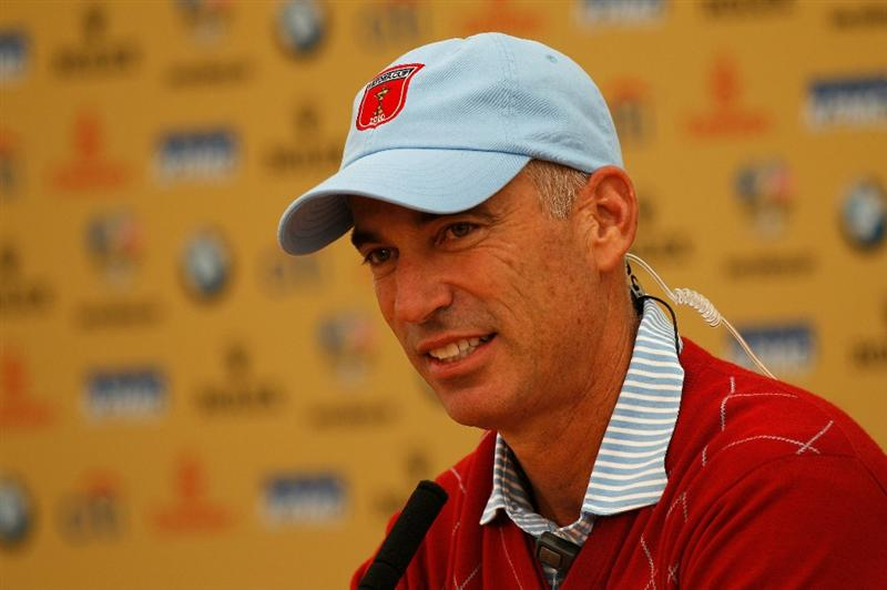 NEWPORT, WALES - SEPTEMBER 28:  USA Team Captain Corey Pavin speaks with the media after a practice round prior to the 2010 Ryder Cup at the Celtic Manor Resort on September 28, 2010 in Newport, Wales.  (Photo by Sam Greenwood/Getty Images)