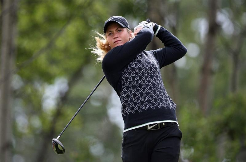 CALGARY, AB - SEPTEMBER 06:  Suzann Pettersen of Norway hits her tee shot on the fourth hole during the final round of the Canadian Women's Open at Priddis Greens Golf & Country Club on September 6, 2009 in Calgary, Alberta, Canada. (Photo by Hunter Martin/Getty Images)
