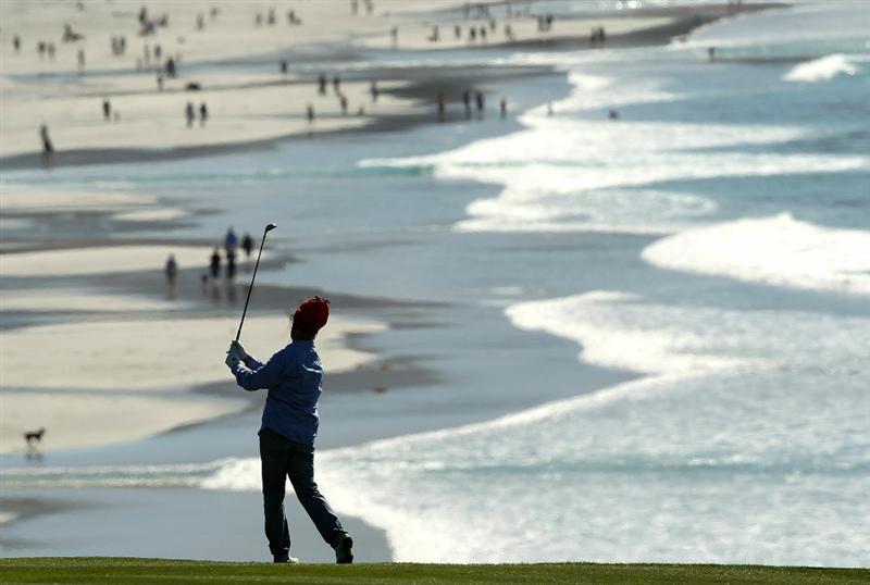 PEBBLE BEACH, CA - FEBRUARY 12:  Actor Bill Murray hits his second shot on the 9th hole during the third round of the AT&T Pebble Beach National Pro-Am at the Pebble Beach Golf Links on February 12, 2011 in Pebble Beach, California.  (Photo by Ezra Shaw/Getty Images)