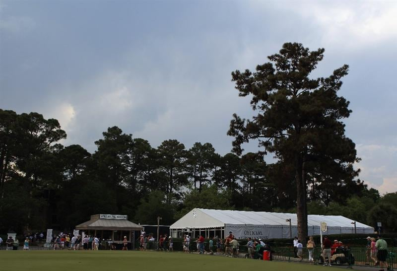 HILTON HEAD ISLAND, SC - APRIL 21:  Patrons exit the golf course due to strong storms in the area causing a stop in play during the first round of The Heritage at Harbour Town Golf Links on April 21, 2011 in Hilton Head Island, South Carolina.  (Photo by Streeter Lecka/Getty Images)