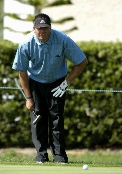 Pat Perez lines up a putt on the 14th hole in  the second  round of the Bay Hill Invitational March 18, 2005 in Orlando.