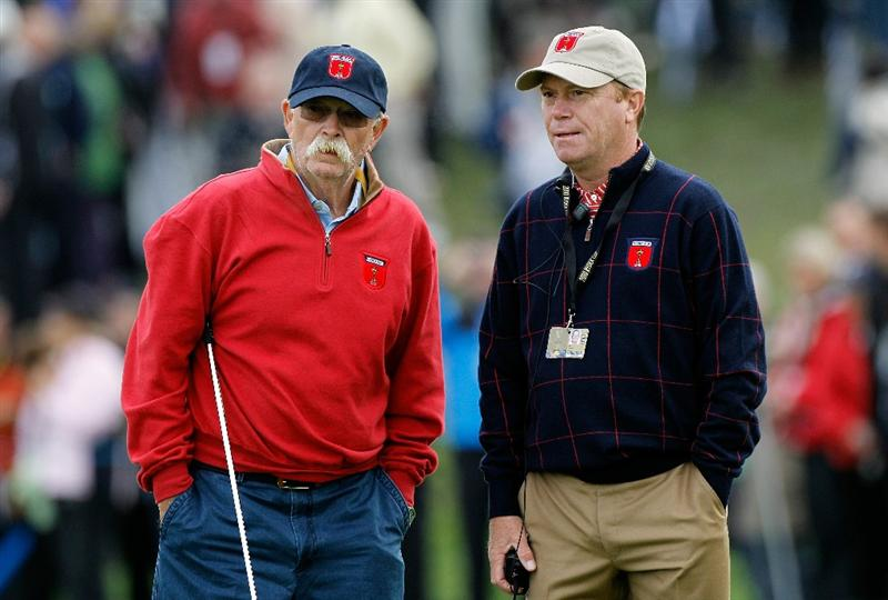 NEWPORT, WALES - SEPTEMBER 30:  Caddie Mike Cowan (L) chats with USA Vice Captain Jeff Sluman during a practice round prior to the 2010 Ryder Cup at the Celtic Manor Resort on September 30, 2010 in Newport, Wales. (Photo by Sam Greenwood/Getty Images)