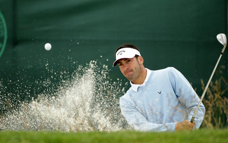 PEBBLE BEACH, CA - JUNE 14:  Alvaro Quiros of Spain plays from a bunker during a practice round prior to the start of the 110th U.S. Open at Pebble Beach Golf Links on June 14, 2010 in Pebble Beach, California.  (Photo by Andrew Redington/Getty Images)