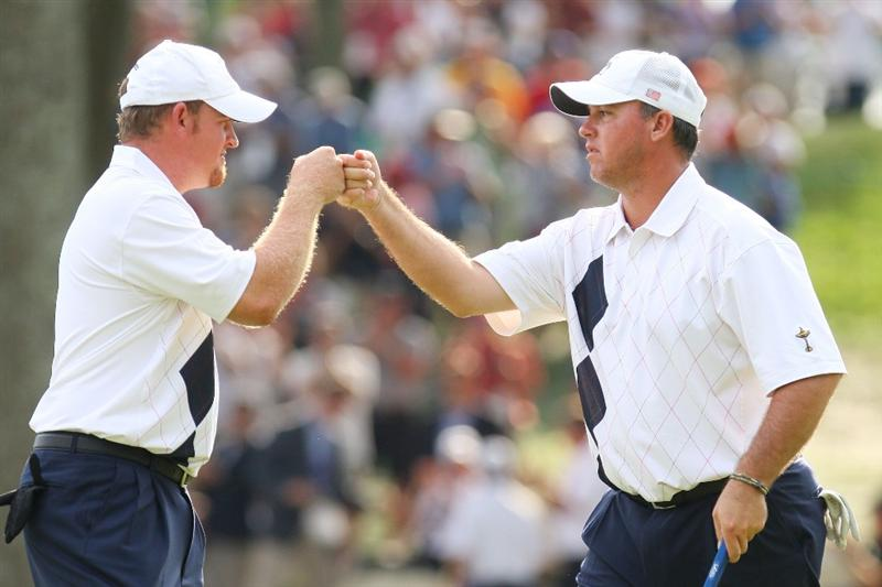 LOUISVILLE, KY - SEPTEMBER 19:  Boo Weekley of the USA team celebrates with J.B. Holmes on the tenth green during the afternoon four-ball matches on day one of the 2008 Ryder Cup at Valhalla Golf Club on September 19, 2008 in Louisville, Kentucky.  (Photo by Andrew Redington/Getty Images)