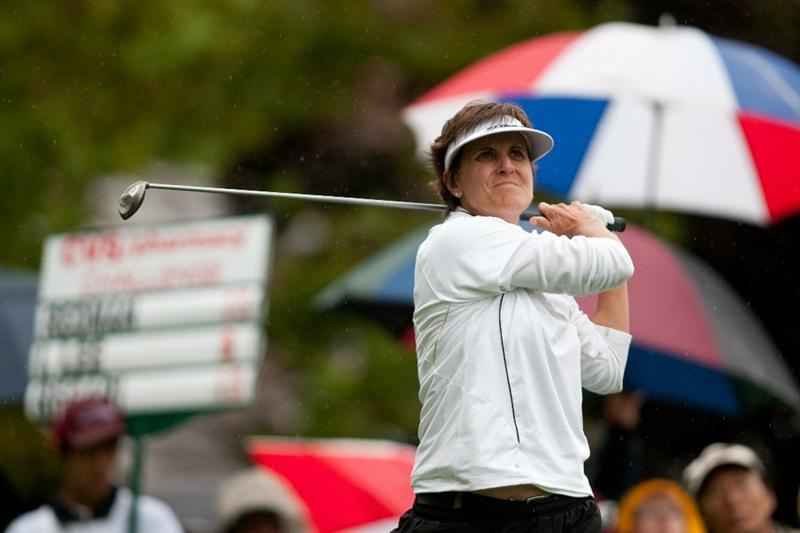 DANVILLE, CA - OCTOBER 17: Michele Redman follows through on a tee shot during the final round of the CVS/Pharmacy LPGA Challenge at Blackhawk Country Club on October 16, 2010 in Danville, California. (Photo by Darren Carroll/Getty Images)