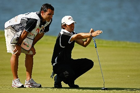 RIO GRANDE, PUERTO RICO - MARCH 20:  Max Alverio of Puerto Rico lines up a putt on the 6th hole during the first round of the Puerto Rico Open presented by Banco Popular held on March 20, 2008 at Coco Beach Golf & Country Club in Rio Grande, Puerto Rico.  (Photo by Mike Ehrmann/Getty Images)