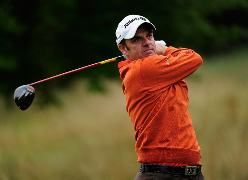 PARIS - SEPTEMBER 24:  Paul McGinley of Ireland plays his tee shot on the sixth hole during the second round of the Vivendi cup at Golf de Joyenval on September 24, 2010 in Chambourcy, near Paris, France.  (Photo by Stuart Franklin/Getty Images)